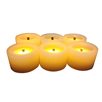 Flameless Flickering Battery-operated Yellow Flame LED White Tea Light Electronic Candle with Timer