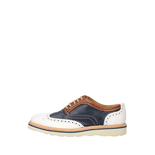 mujer Calpierre Azul cordones de para de Piel Zapatos Blanco xYYCrwqA