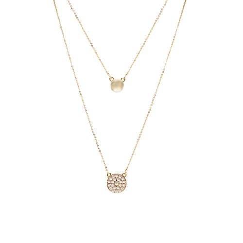 T-Doreen Exquisite Layered Disc Crystal Pendant Necklace for Women Gold (Layered Disc Necklace)