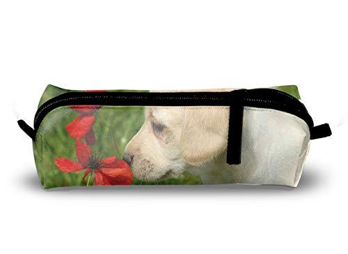 Pencil Case, White Dog Pen Case Zipper Bag Office Organizer Makeup Pouch