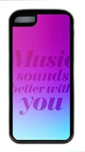 E-luckiycase TPU Supple Shell Music Sounds with Black Edges Skin for Iphone 5C Case
