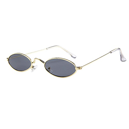 Lookatool LLC Fashion Mens Womens Retro Small Oval Sunglasses Metal Frame Shades Eyewear