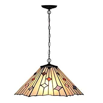 - Tiffany-Style Chandelier,Victorian 2 Light Ceiling Pendant Hanging Lamp Fixture 16-Inch Shade, Multi-Colored Modern Simple for Dinner Room