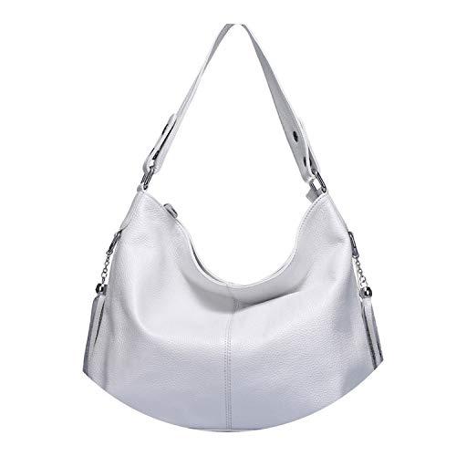 New Fashion Soft Real Genuine Leather Tassel Handbag Elegant Ladies Hobo Shoulder Bag Messenger ()