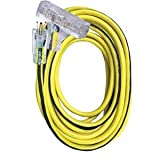 Voltec 05-00124 12/3 SJTW Outdoor Power Block Extension Cord with Lighted End, 50-Foot, Yellow with Blue Stripe