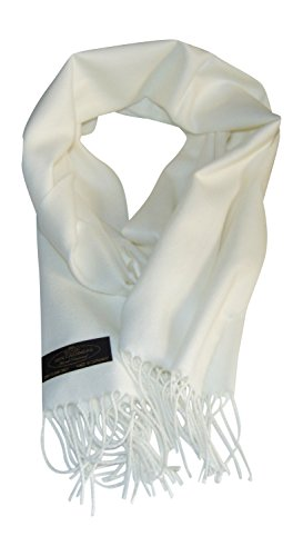 (Annys Super Soft 100% Cashmere Scarf 12 X 72 with Gift Bag (White))