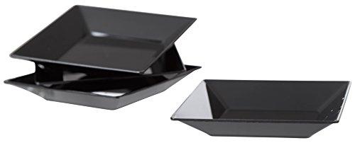 Exquisite Plastic Mini Square Appetizer Plates - 100 Ct Square plastic Dessert Plates - 2.95 Inch. x 2.95 Inch. (Black)