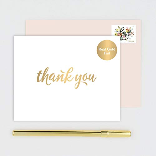 Thank You Note Cards Stationery - Handmade Folded White Notecards Stamped with Gold Foil Calligraphy - Boxed Set of 10 with Blush Pink Envelopes