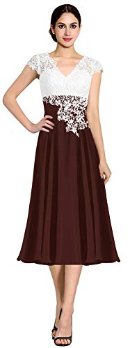 ThaliaDress Women's Ivory Lace Top Chiffon V Neck Mother of The Bride Dress T040LF Tea Length Dark Burgundy US6