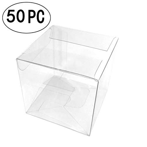 Transparent Cube Box Clear Candy Treat Box PET Gift Packing Box Baby Shower Wedding Favors Party Boxes -