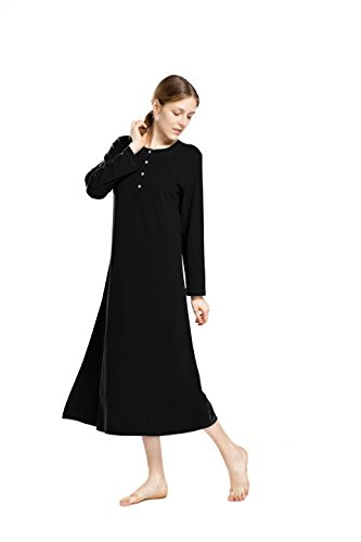 (lantisan Cotton Knit Long Sleeve Nightgown Women, Henley Full Length Sleep Dress,Black,XXL)