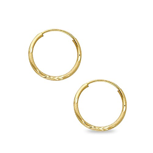 Round Endless Hoops Diamond Cut Earrings 14k Yellow Gold Satin Finish Polished Genuine 15 x 1.25 mm 14k Yellow Gold Satin Hoop