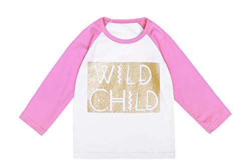 Infant Tee Toddler - Herbow Toddler Baby Girls Long Sleeve Shirts Raglan Shirt Baseball Tee Cotton T-Shirt Wild Child