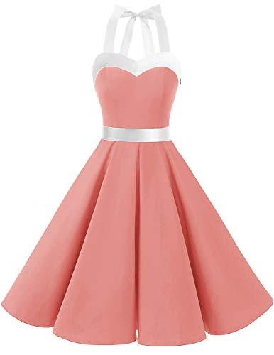 DRESSTELLS Vintage 1950s Rockabilly Polka Dots Audrey Dress Retro Cocktail Dress Blush White L