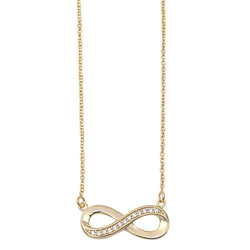   Clear Infinity Knot Glitzs Jewels 925 Sterling Silver Cubic Zirconia Necklace for Women