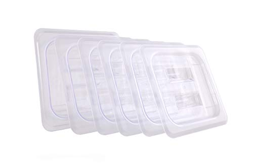 Hakka 1/6 Size Polycarbonate Gastronorm Pans Lid&Cover,Clear - Pack of 6