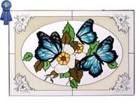 Three Monarch Butterflies Blue Oval Art Glass Panel Wall Window Hanging Suncatcher 14 x 20 -