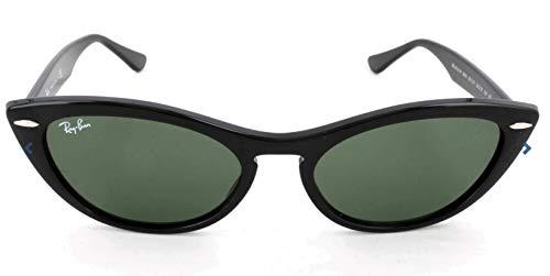 Ray-Ban Women's RB4314N Nina Cat Eye Sunglasses, Black/Green, 54 mm (Cat Ray Bans)