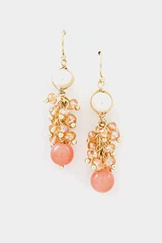 Trendy Fashion Jewelry Crystal Cluster with Pearl Dangle Earring By Fashion Destination
