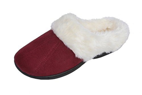 Detailed Clogs - Beverly Rock Womens Faux Fur Lined Plush Clog Slipper With Detailed Stitching Red M