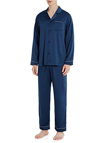 - David Archy Men's Stretchy Satin Silky Long Button-Down Sleepwear Lounge Pajamas Set (L, Navy Blue)