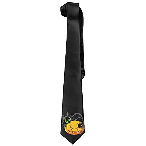 Halloween Black Cat Men's Tie Long Necktie Skinny Neckwear Silk