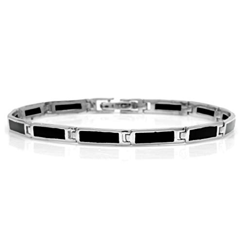 (Silvershake Rectangular Shape Created Black Onyx Inlay 925 Sterling Silver Link Bracelet 8 Inches)