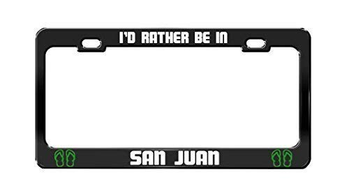 ASUIframeNJKI'd Rather Be in San Juan Argentina Black Auto Funny License Plate Frame Car Auto Tag Holder
