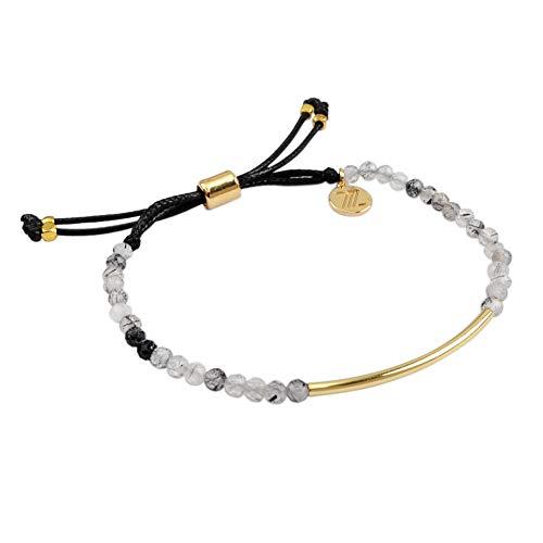 - ZENGORI 1 Pcs 3mm Faceted Natural Rutilated Quartz Bead Bracelet Adjustable Handmade Jewelry ZBG0062