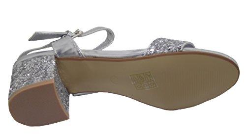 Divine Ladies Glitter Sparkle Block Heel Evening Sandals Shoes Silver l4UO6Q3