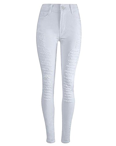 Stretch Haute Blanc Pantalons Dchirs Taille Trous Femmes Crayons Slim Skinny DianShaoA Jeans HTw6SXqx