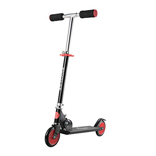 Kick Aluminum Scooter - RBH Children's Scooter Push Kick Scooter, New Aluminum Alloy Adjustable Height Folding Scooter - Suitable for Children's Day Gifts (Over 5 Years Old),Black