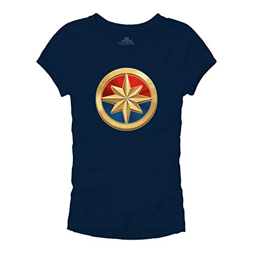 Marvel Captain Logo Symbol Superhero Womens Juniors Graphic T-Shirt (Navy,Large) -
