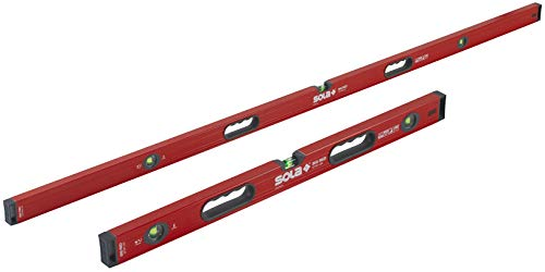 SOLA LSB7832M Big Red Aluminum Box Beam Level Magnetic Jamb Set with 3 60% Magnified Vials, 32 & ()