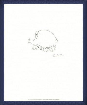 ポスター パブロ ピカソ ブタ 額装品 ウッドベーシックフレーム(ブルー) B071X45PK5 ブルー ブルー