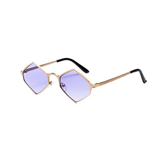 Alonea Women Sunglasses, Women Hexagonal Metal Frame Shades Sunglasses Integrated UV Glasses Retro Eyewear (Purple) (Shaped Shade Hexagonal)