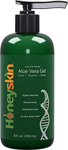 Natural & Organic Aloe Vera Gel - Body & Face Moisturizer for Sensitive Skin with Manuka Honey, Apple & Orchid Stem Cells - Hydrating Gel for Sunburn, Acne, Eczema, Psoriasis & Dry Skin & Scalp (8 oz)