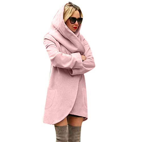 Women Cardigan Tops Cinsanong Casual Woolen Hooded Overcoat Loose Thin Top Coat Ladies Hoodies ()