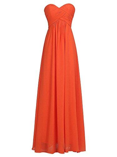 de Tirantes Sin Vestido Larga de de Naranja Plisada de de Vestidos Dama JAEDEN Gasa Noche Honor Baile w54IqIT