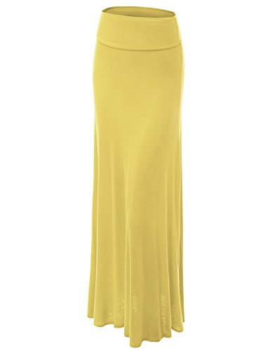 Fold Over Flare Skirt - WB670 Womens Fold-Over Maxi Skirt L YELLOW
