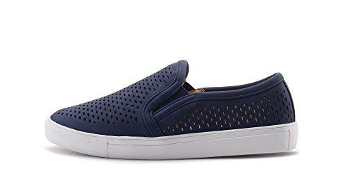 Mila Lady (EMILY) Frauen Canvas Slip On Laser Cut Mode Turnschuhe, Marine