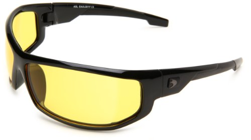 Bobster AXL Wrap Sunglasses, Black Frame/Yellow Anti-fog Lens