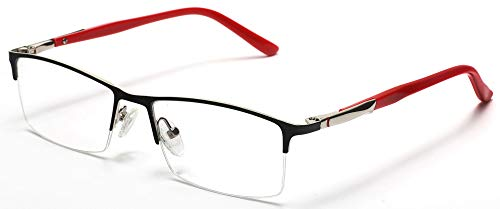 Tango Optics Rectangle Metal Eyeglasses Frame Luxe RX Stainless Steel Jocelyn Bell Black Rectangle Ready For Prescription ()
