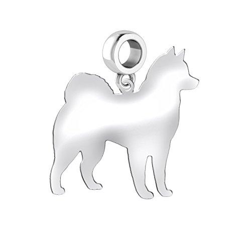 Malamute Dog Charm | Malamute Silhouette Charm | Fits All European Style Bracelets | Sterling Silver