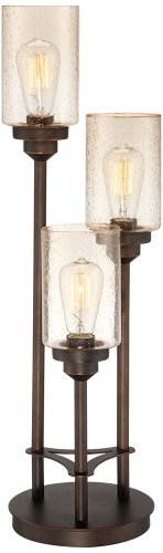 Bronze 60w Buffet Lamp - Libby 3-Light Industrial Console Lamp with Edison Bulbs