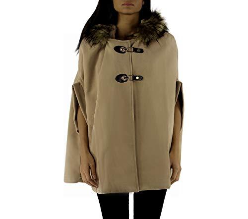 Hiver Camel Poncho Capuche Coloris Fourrure Femme Lyse 6 70wnUUx