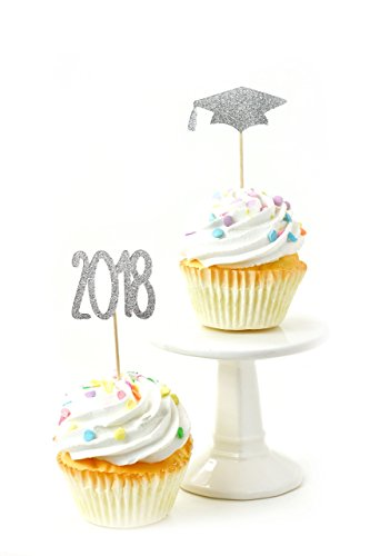 2018/Graduation Hat Silver Glitter Cupcake Toothpick Toppers