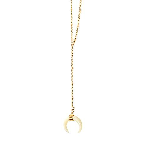 [WORTHTRYIT Crescent Necklaces Pendant Ivory Double Horn Moon Y Neck Pendant Necklace-S] (Crescent Moon Pendant Necklace)