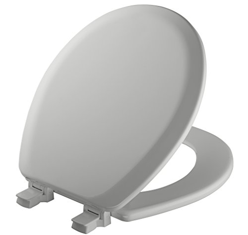 MAYFAIR Toilet Seat will Never Loosen and Easily Remove, ROUND, Durable Enameled Wood, Silver, 41EC 162 (Toilet Seats Gray)