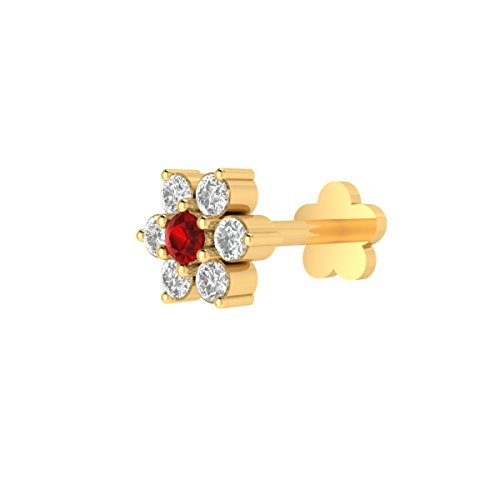 Animas Jewels DGLA Certified 14k Yellow Gold Flower Stud Nose Pin For Women 0.05 Cttw Natural Diamond (H-I Color. I1-I2 Clarity) & Real Red Ruby Round 3-Prong Setting. Available 6 ()